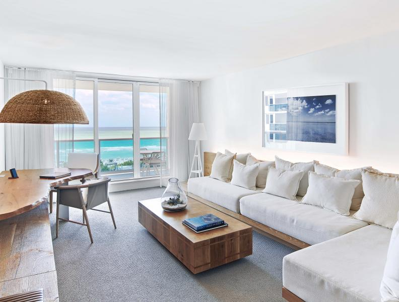 One to two bedroom suite with ocean front view at 1 Hotel South Beach