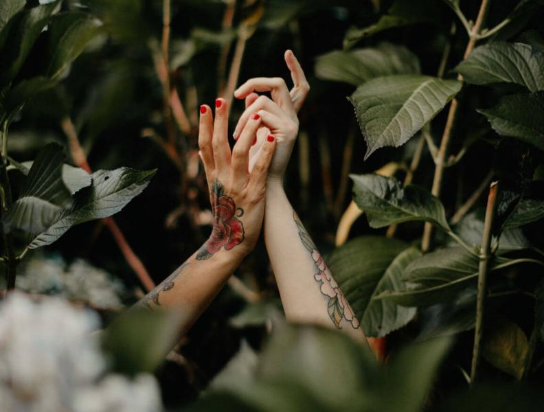 Two hands and forearms with tattoos emerging from green leaves