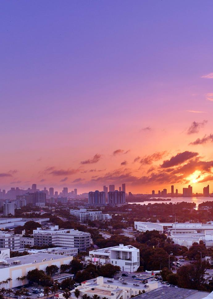 Sunset over the city of Miami