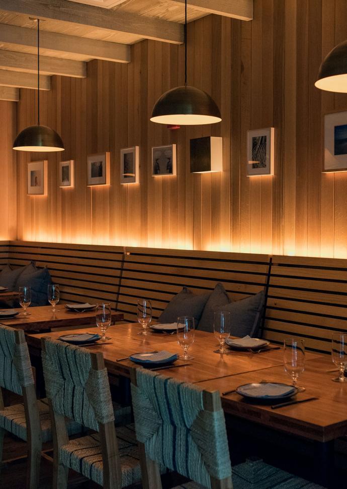 Wooden dining tables at Habitat
