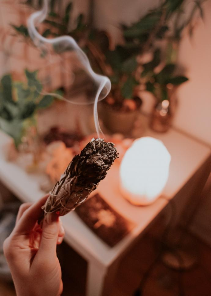 Smudging sage bundle with candle