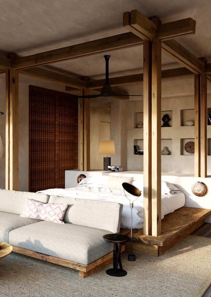 1 Hotel Hanalei Bay Makana House Suite Bedroom Rendering