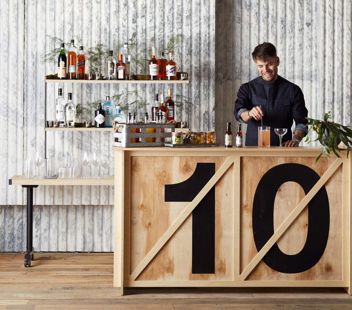 Bartender stirring cocktail