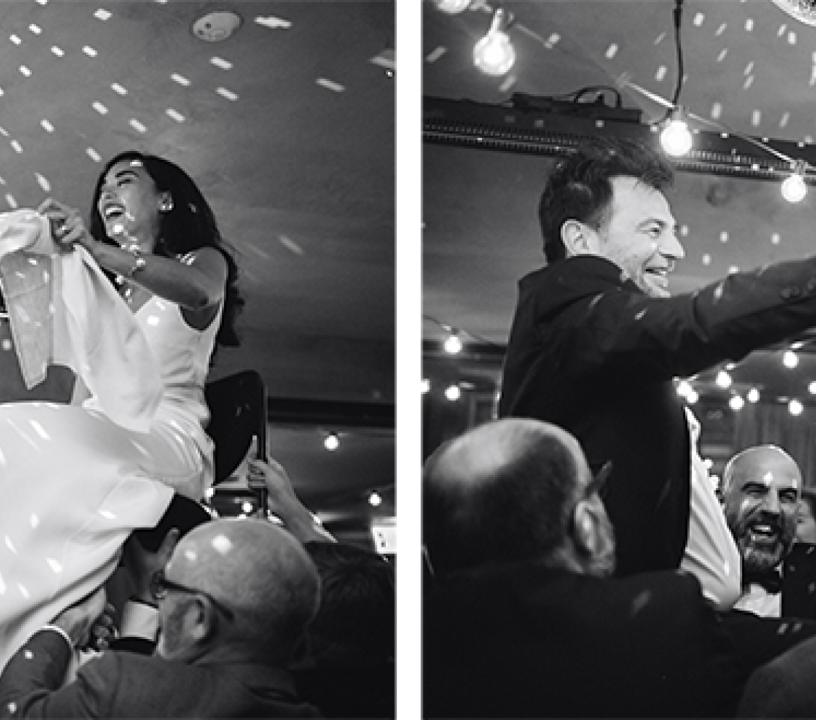 Black and white photo of a classy wedding celebration