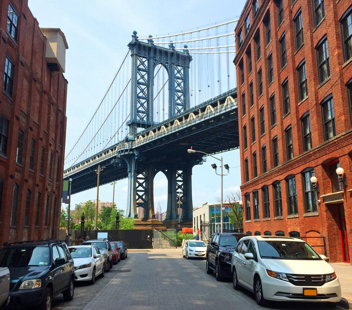 street parking with view of brooklyn bridge