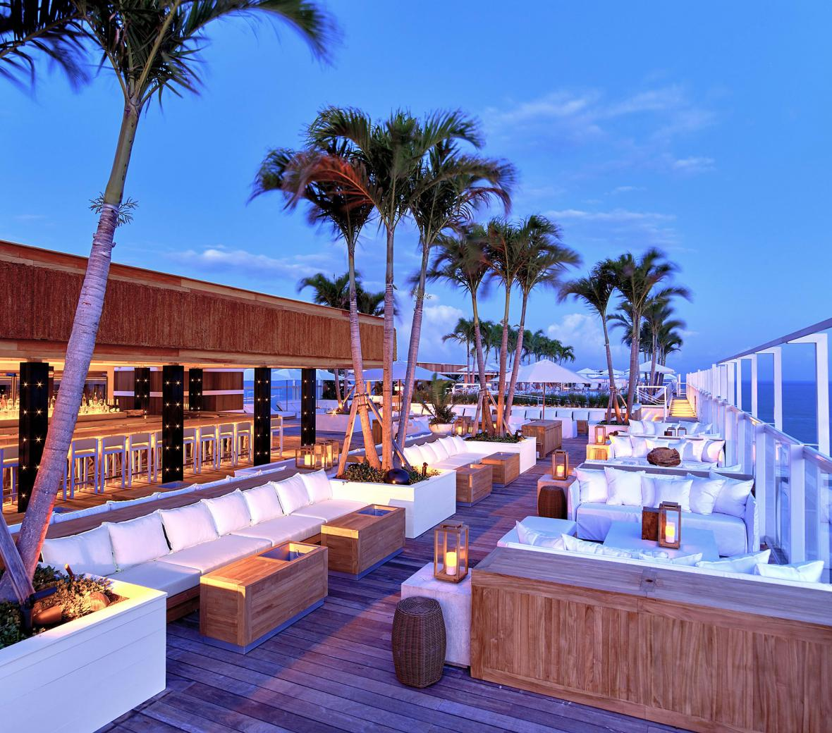 rooftop bar and lounge at sunset