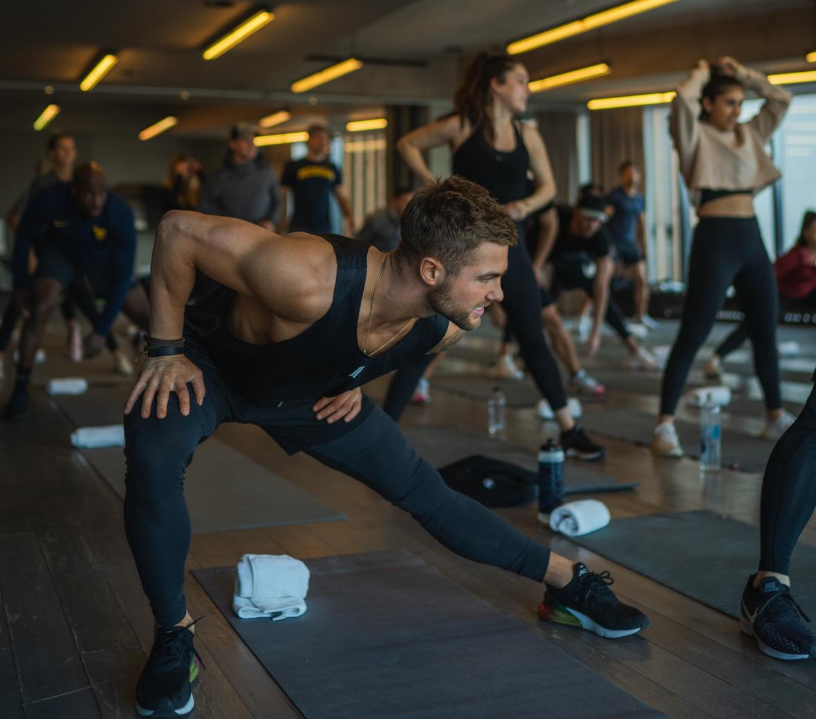 A fitness class led by Devon Levesque at 1 Hotel Brooklyn Bridge.