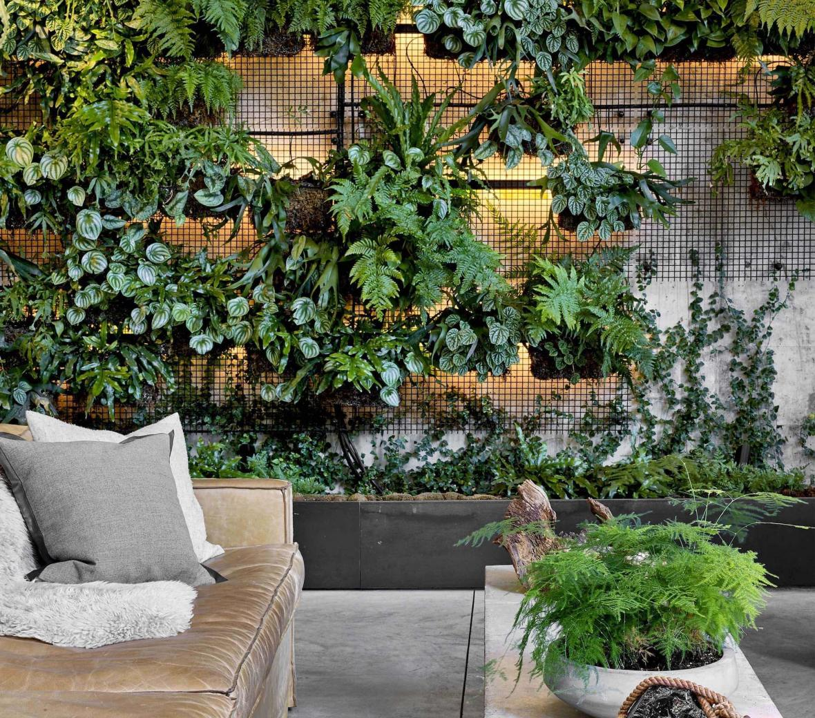 A greenery wall in the lobby of 1 Hotel Brooklyn Bridge.