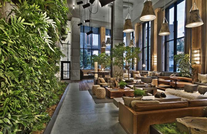 Living plant wall in Brooklyn Bridge lobby