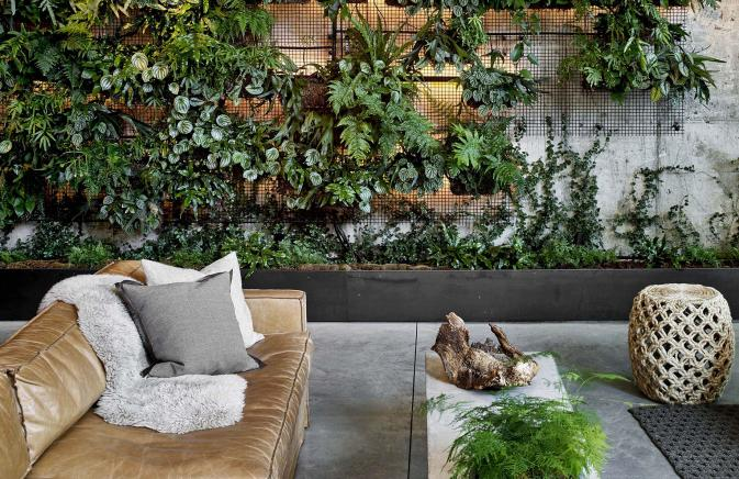 A lush, green living wall in the lobby of 1 Hotel Brooklyn Bridge.
