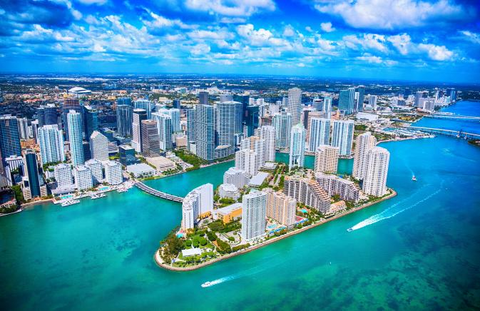 Aerial shot of downtown miami
