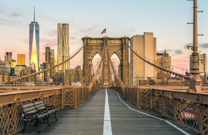 Walking lane on the Brooklyn Bridge