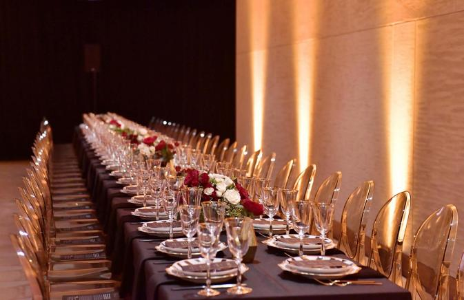 long table set up for an event