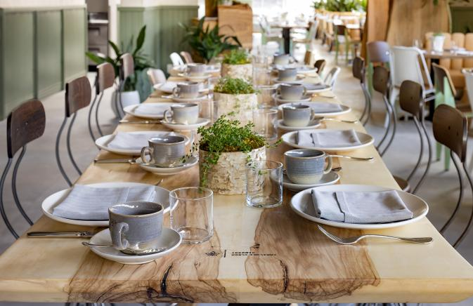 Close up dining table