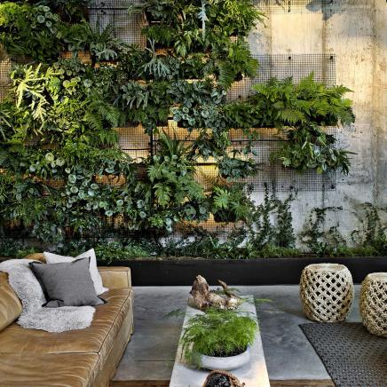 Living plant wall at Brooklyn Bridge
