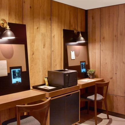 A wood furnished work station at 1 Hotel
