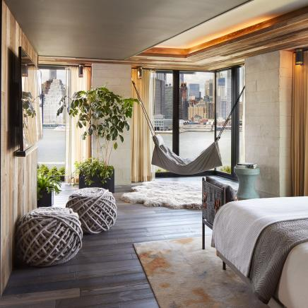 Riverhouse master bedroom at 1 Hotel Brooklyn Bridge