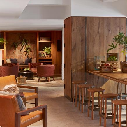 Social space with arm chairs and bar seating in rich leathers and woods