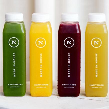 Nativ made fresh juices bottles in green yellow and red