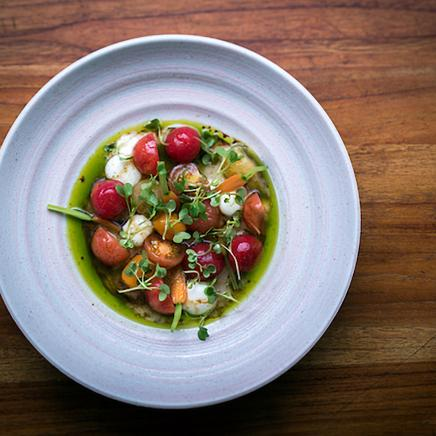 ceviche with pea puree and tomatoes