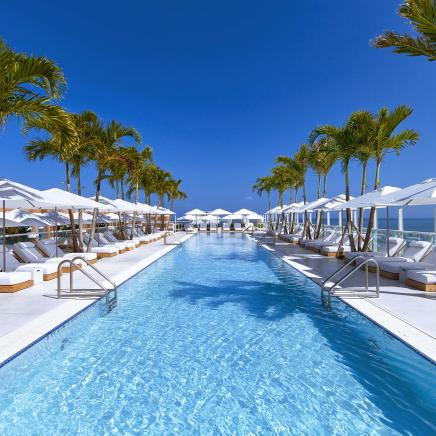 The rooftop swimming pool at 1Hotel South Beach