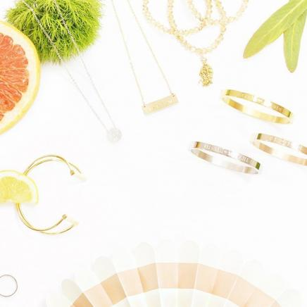 Jewelry posed with citrus fruit
