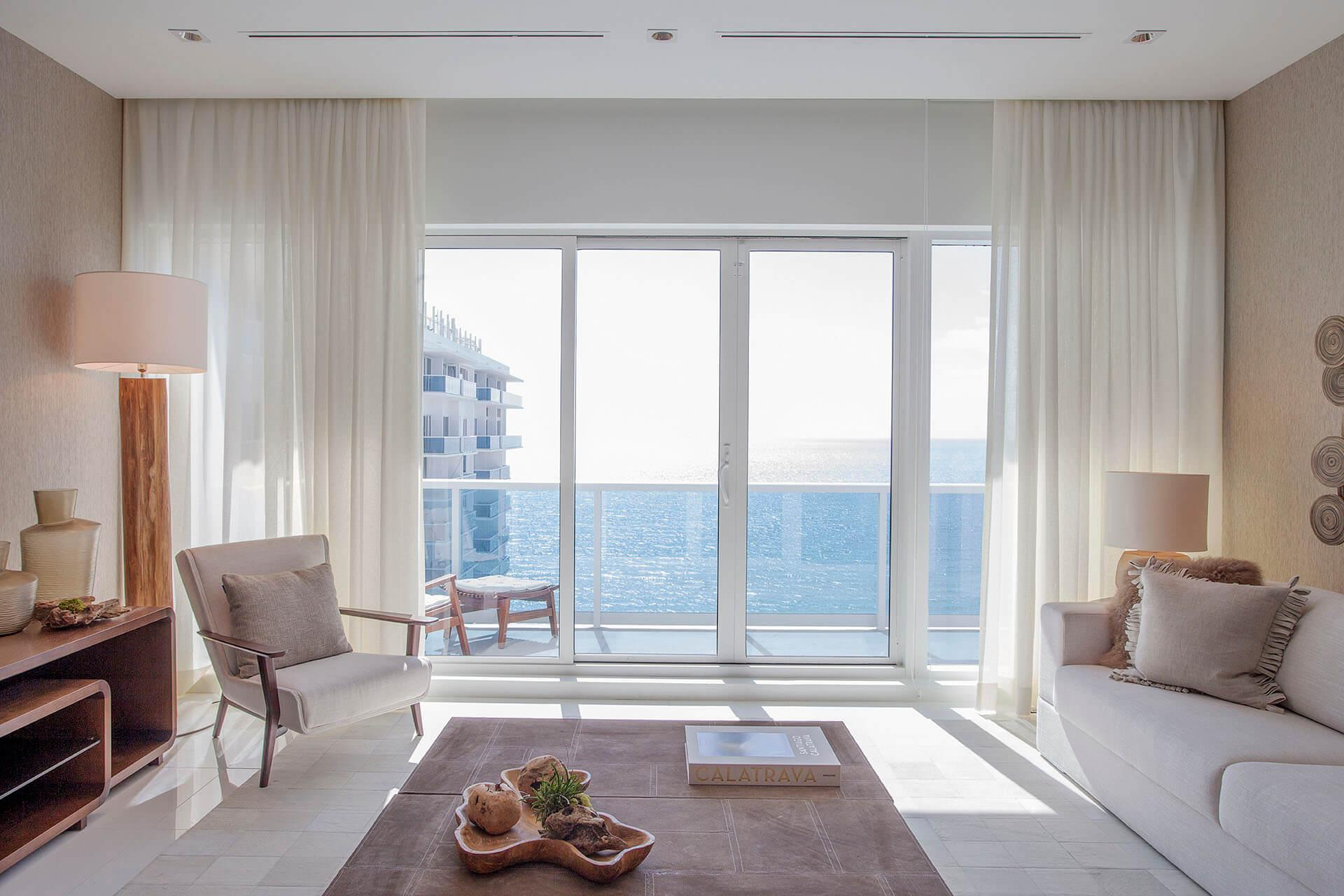 Ocean View Two Bedroom Home with Balcony | Living Area