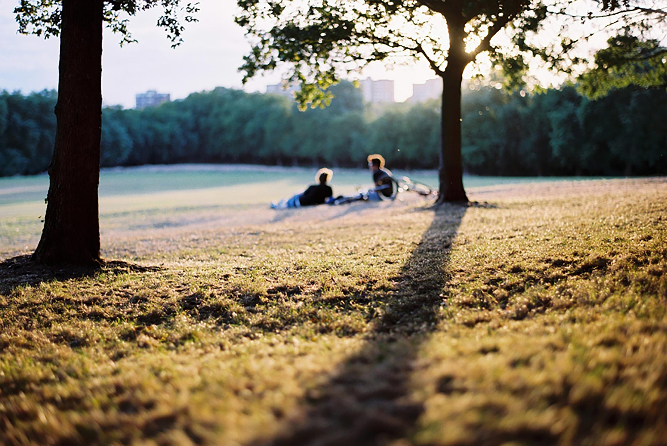 Two people laying in a field in the distance