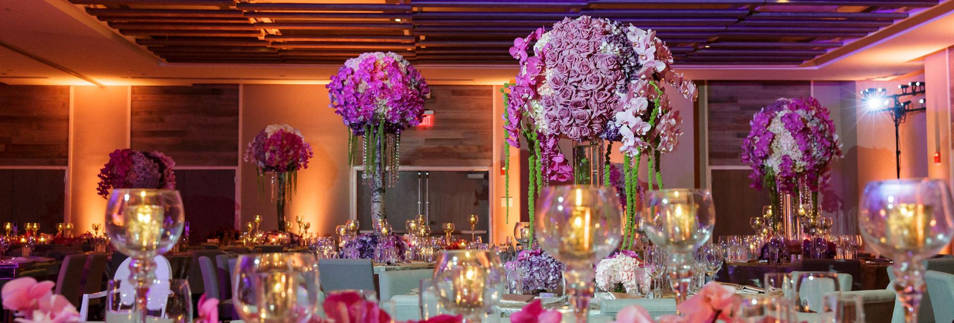 Banquet Tables With Fl Arrangements In Ballroom At 1 Hotels South Beach For Wedding