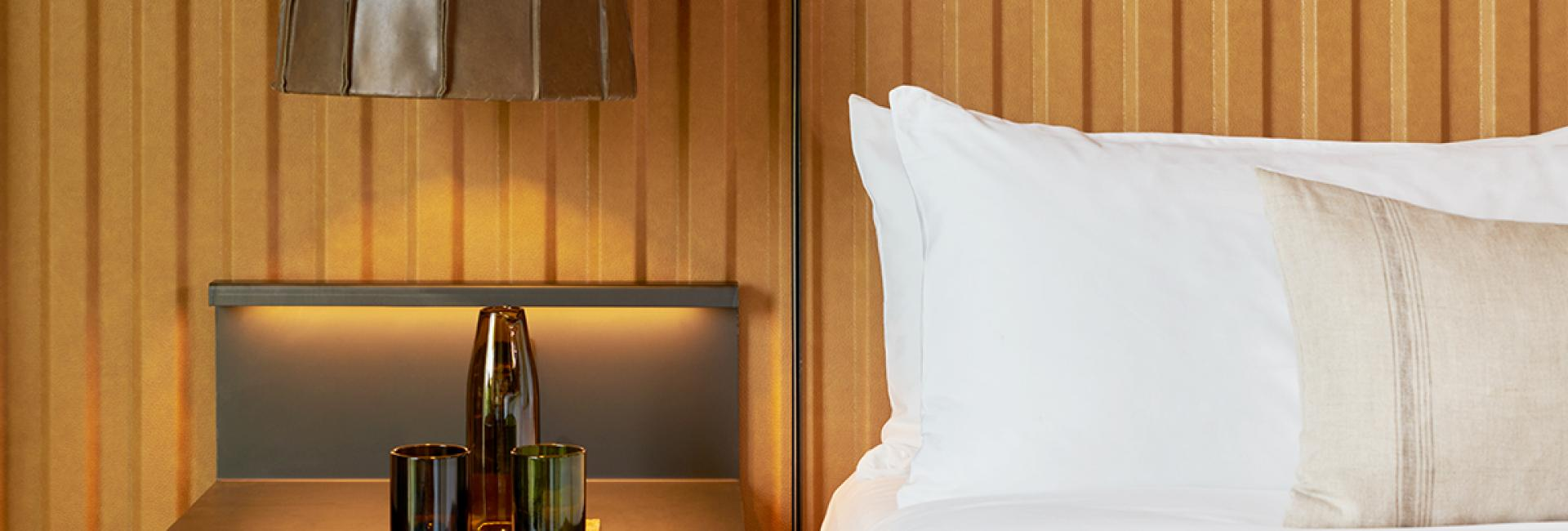 Detailed shot of king bed