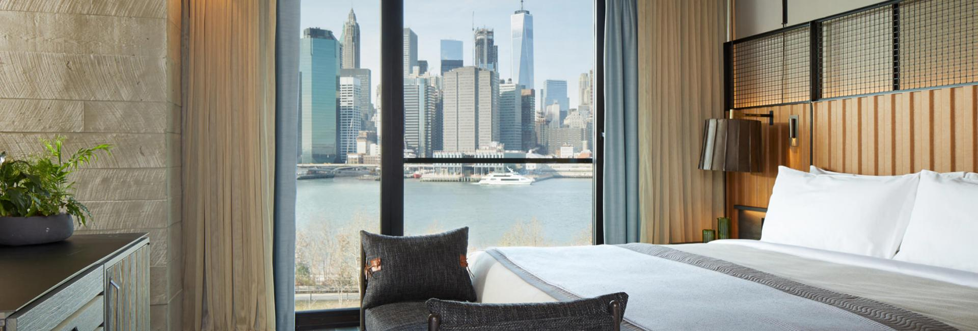 Skyline suite at 1 Hotel Brooklyn Bridge with view of NYC skyline