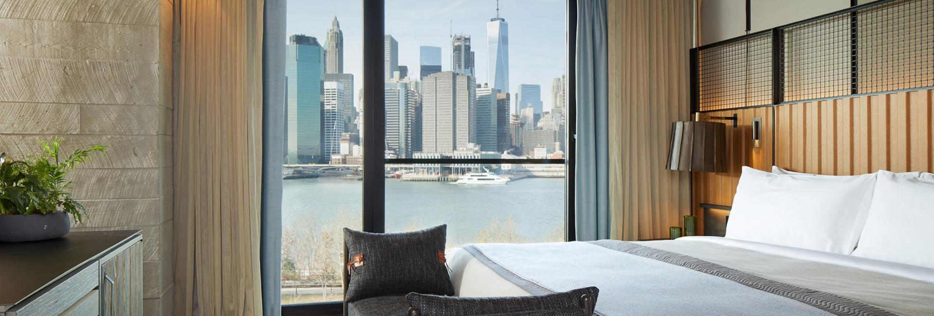 The Skyline suite at 1 Hotel Brooklyn Bridge with view of NYC skyline