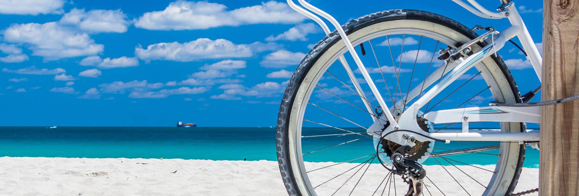 Bike parked at the beach