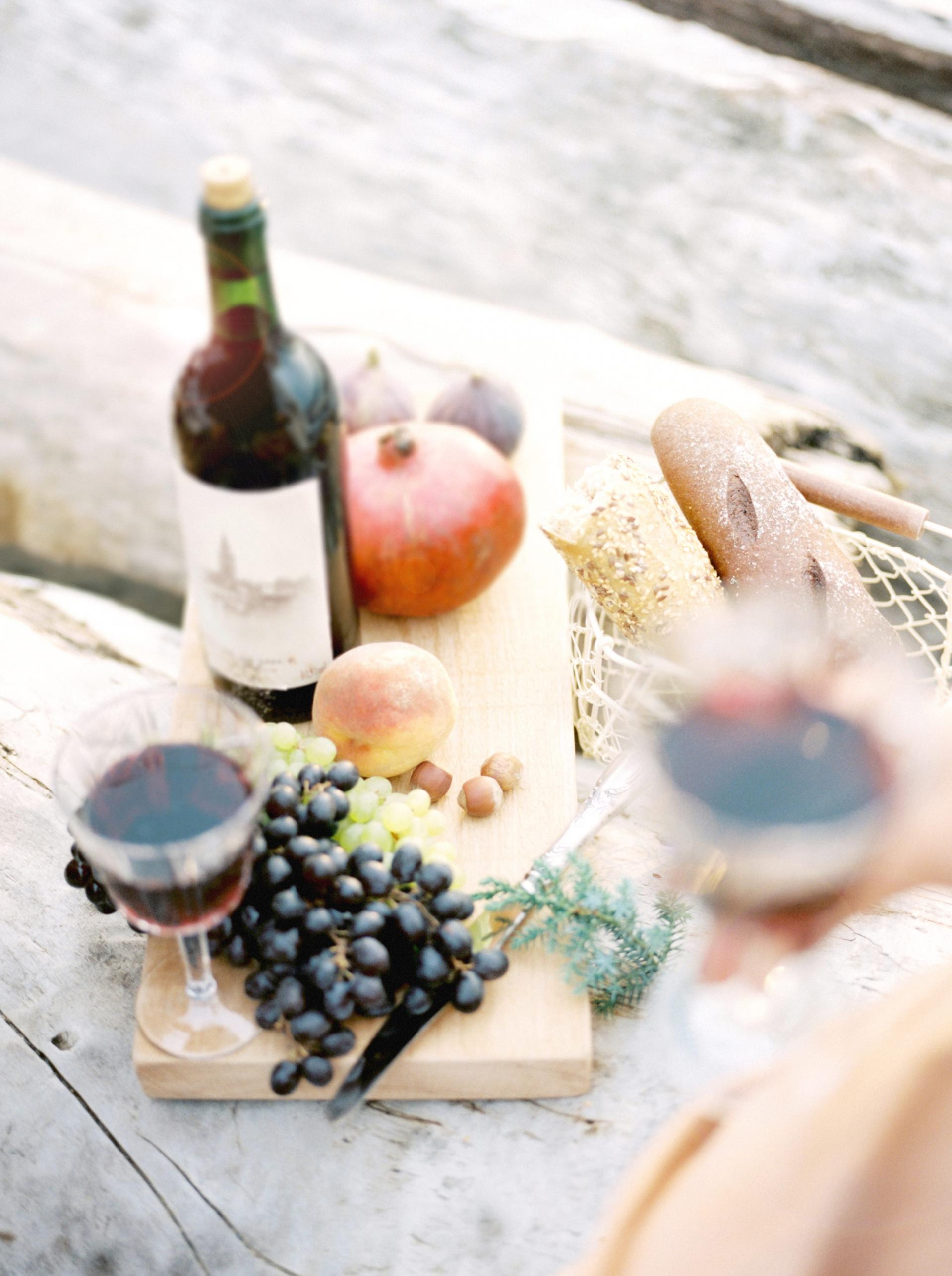 wine and cheese platter