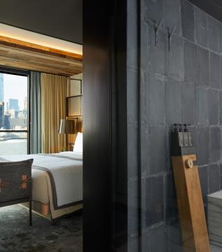 Bathroom in the skyline suite at 1 Hotel Brooklyn Bridge