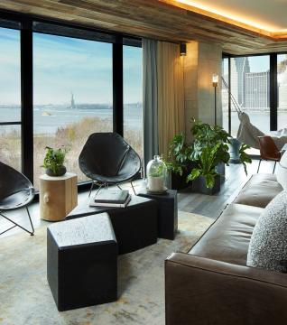 The living area of the Skyline suite at 1Hotel Brooklyn Bridge