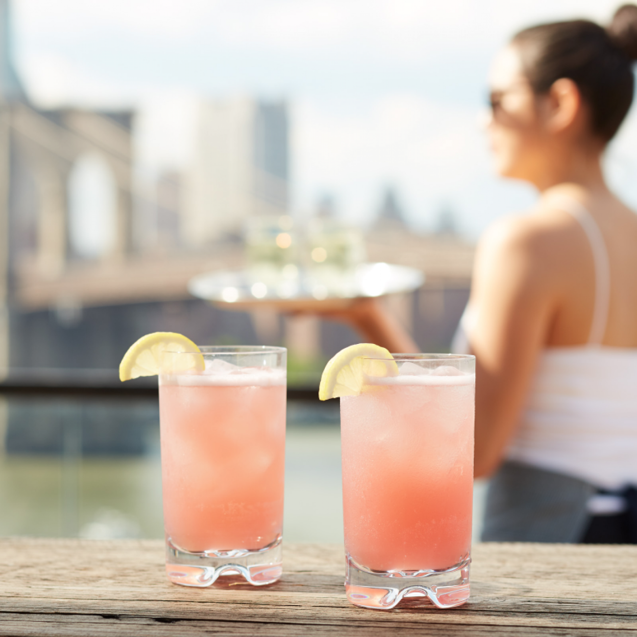 Close up of cocktails at Brooklyn Bridge Rooftop bar