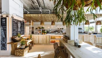 The interior of Plnthouse, a plant-based restaurant at 1 Hotel South Beach
